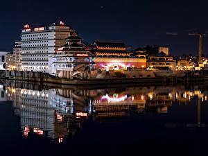 Фото Франция Дома Реки Причалы Париж Ночь Huantian Hotel Города
