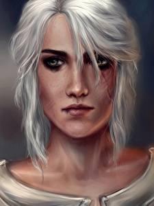 Картинка Ведьмак 3: Дикая Охота Блондинка Взгляд Лицо Cirilla Игры Девушки