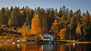 Обои Осень Реки Причалы Здания Деревья