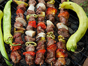 Картинка Шашлык Мясные продукты Овощи Перец