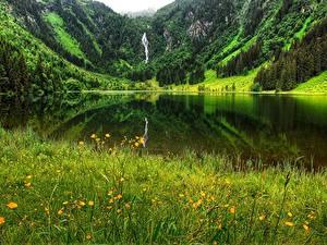 Картинка Лето Озеро Гора Германия Траве Bergsee Природа