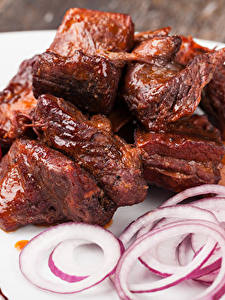 Фото Мясные продукты Томаты Лук репчатый Шашлык Еда