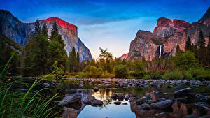 Фотографии США Парк Гора Озеро Камни Леса Калифорния Йосемити Утес Природа
