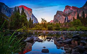 Фотографии США Парки Горы Озеро Камни Леса Калифорния Йосемити Утес Природа