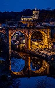 Фото Англия Здания Речка Мосты Отражение Ночью Knaresborough Города