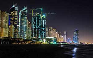 Фотографии Объединённые Арабские Эмираты Дубай Здания Небоскребы Ночные Города