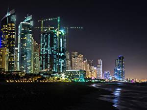 Фотографии Объединённые Арабские Эмираты Дубай Здания Небоскребы Ночные