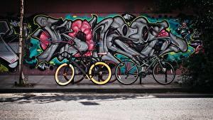 Обои Граффити Стенка Улице Велосипед