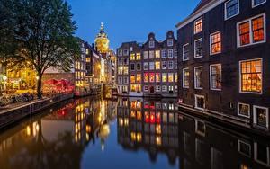 Фотография Амстердам Нидерланды Вечер Дома Водный канал