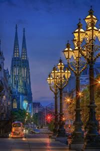 Фотография Австрия Вена Вечер Здания Улица Уличные фонари