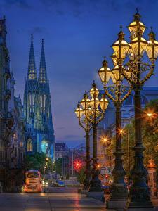 Фотография Австрия Вена Вечер Дома Улице Уличные фонари