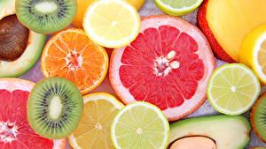 Фото Фрукты Цитрусовые Киви Лимоны Пища