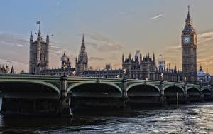 Обои Англия Мосты Лондоне Биг-Бен Башня