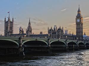Обои Англия Мост Лондоне Биг-Бен Башни город