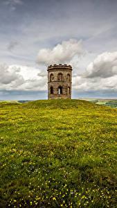 Обои для рабочего стола Англия Башни Облака Холмов Трава Peak district, Buxton, Grinlow Tower Природа