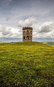 Картинка Англия Башни Облака Холмов Трава Peak district, Buxton, Grinlow Tower Природа