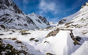 Обои Франция Горы Камень Зимние Скала Снег Pyrenees, mount Bouleste Природа