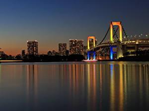 Фотография Мосты Токио Япония Ночью Залив Rainbow Bridge город