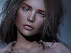 Картинки Лица Красивые Смотрит 3D Графика Девушки