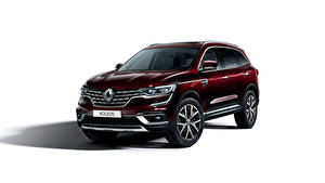 Фотографии Renault Белым фоном Бордовый 2019 Koleos Worldwide Автомобили
