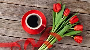 Фотографии Тюльпаны Кофе Доски Чашка Цветы