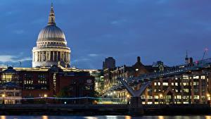 Фотографии Великобритания Здания Речка Мост Лондон Ночные Города