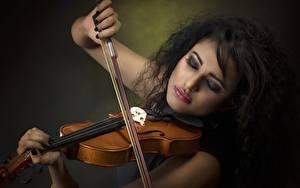 Картинки Скрипки Брюнеток молодая женщина