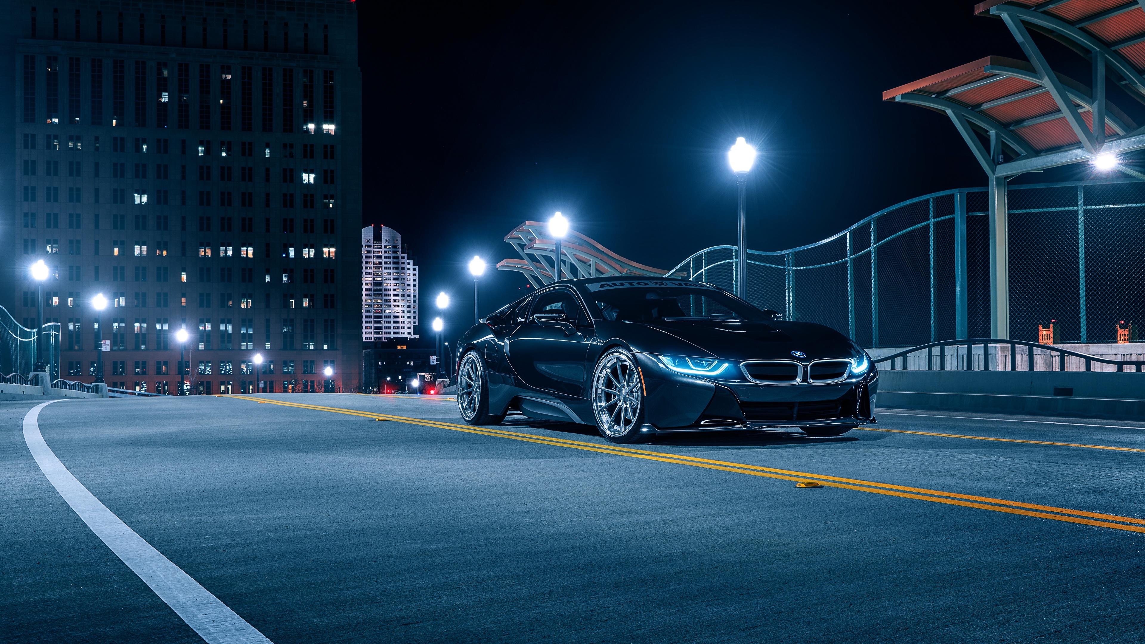 Обои для рабочего стола BMW Aristo, i8 черная Ночь авто 3840x2160 БМВ Черный черные черных ночью в ночи Ночные машины машина Автомобили автомобиль