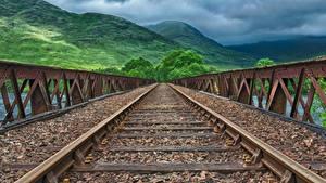 Обои Мосты Железные дороги Горы Рельсах