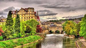 Обои Англия Дома Речка Мосты HDRI Bath город