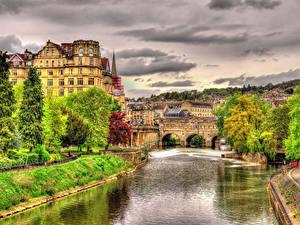 Обои Англия Дома Речка Мост HDRI Bath город