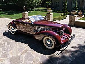 Картинка Ретро Бордовая Кабриолет Металлик 1937 Cord 812 Supercharged Convertible Coupe машина