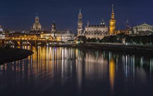 Фотографии Дрезден Германия Здания Реки Мост Ночные Города