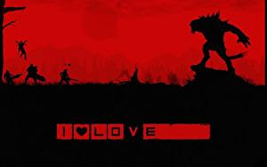 Картинка Evolve игра Чудовище Воины Силуэт Stage 2 Игры