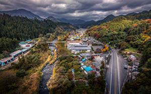Обои Япония Здания Дороги Леса Осенние HDRI Gunma Города