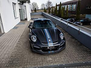 Обои Порше Черный Спереди 2016-17 TechArt 911 Turbo GT Street R (991) авто