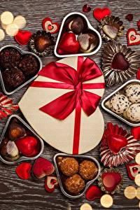 Фотография День святого Валентина Сладости Конфеты Шоколад Доски Сердечко Пища