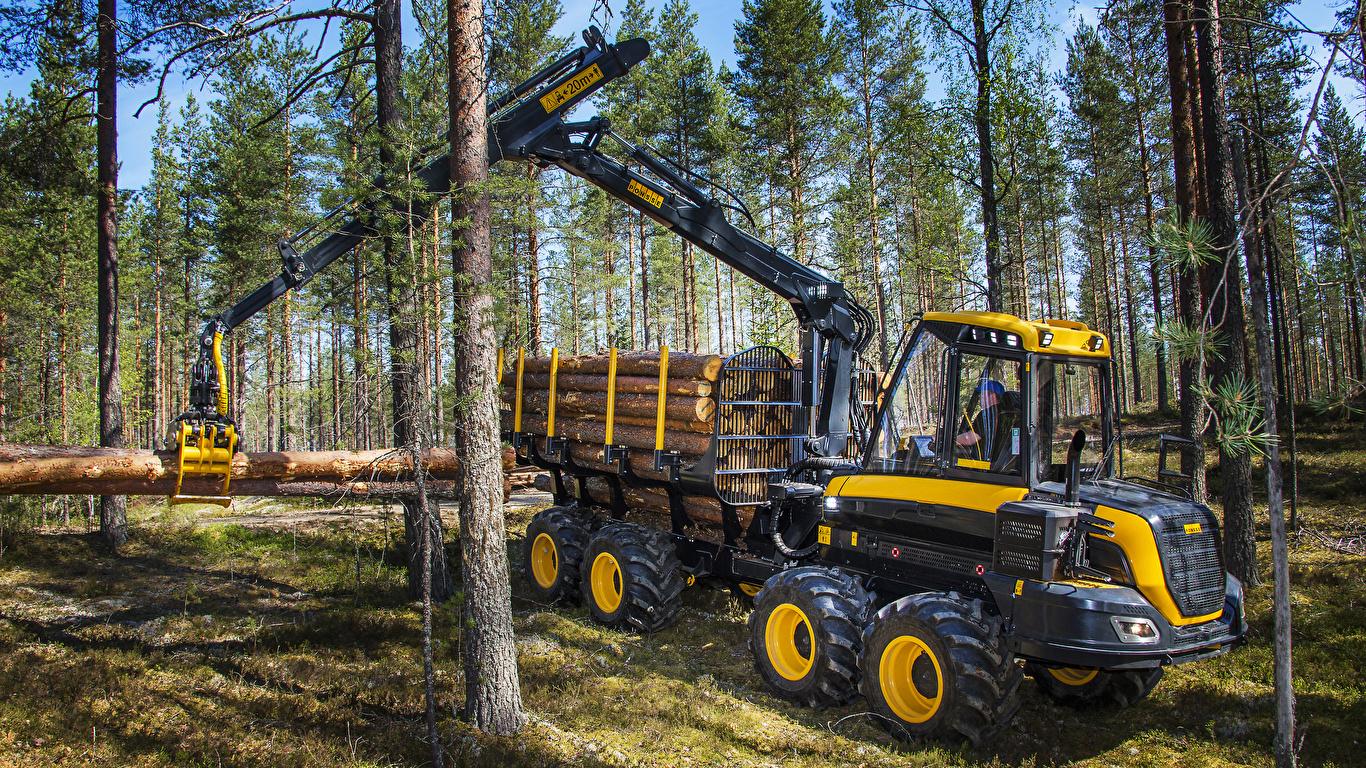 Фотографии Форвардер 2014-17 Ponsse Wisent 8w бревно лес 1366x768 Бревна Леса