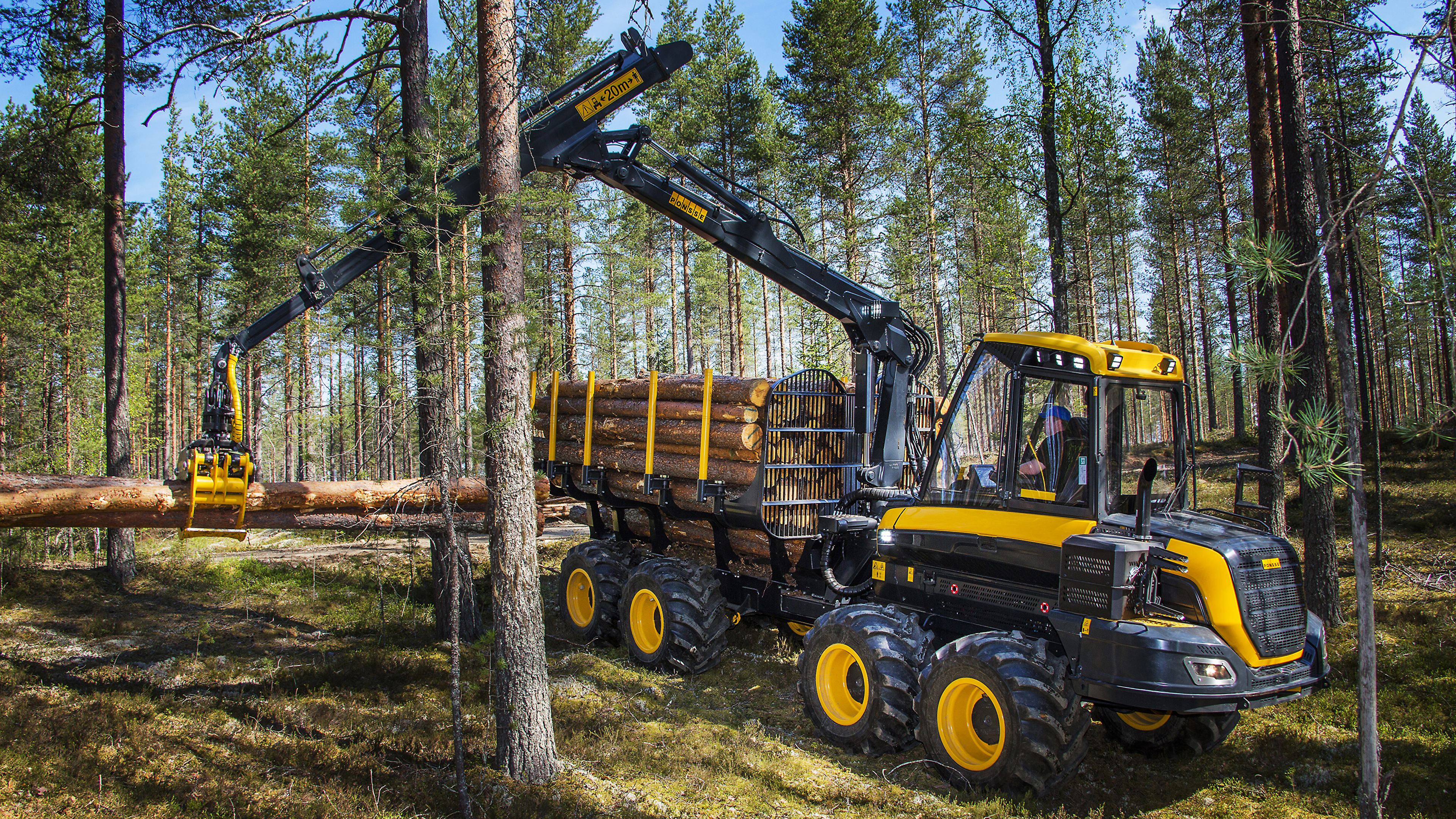 Фотографии Форвардер 2014-17 Ponsse Wisent 8w бревно лес 3840x2160 Бревна Леса