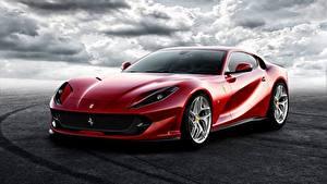 Фотография Ferrari Красный Superfast 812 Автомобили