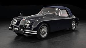 Фотографии Ягуар Ретро Серый фон Купе Черных Металлик 1958-61 XK150 Drophead Coupe автомобиль