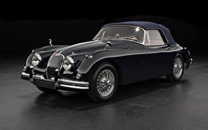Фотографии Ягуар Ретро Серый фон Купе Черных Металлик 1958-61 XK150 Drophead Coupe Машины