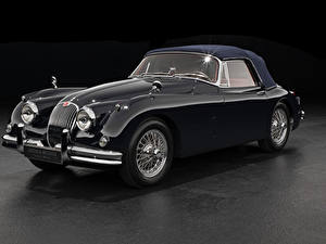 Фотографии Ягуар Винтаж Серый фон Купе Черный Металлик 1958-61 XK150 Drophead Coupe Авто