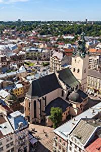 Обои Львов Украина Дома Сверху Города