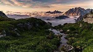 Картинки Гора Италия Пейзаж Альп Облачно Dolomites