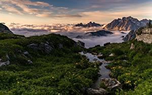 Картинки Гора Италия Пейзаж Альп Облачно Dolomites Природа