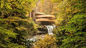 Картинка США Осень Леса Водопады Здания Kaufmann House Pittsburgh