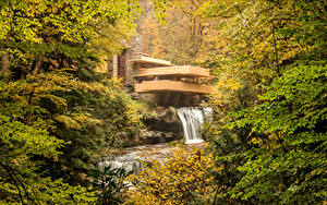 Картинка США Осень Леса Водопады Здания Kaufmann House Pittsburgh Природа