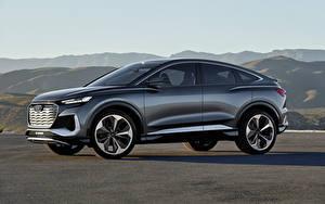 Картинки Audi Кроссовках Металлик Сбоку Q4 Sportback e-tron Concept, 2020 машина