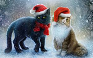 Фотография Кошки Рисованные Новый год Двое Шапки Снеге Шарфом Животные